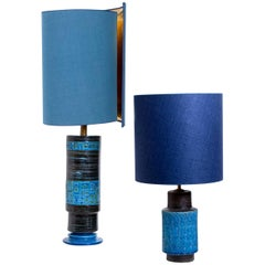 Pair of Bitossi Table Lamps with New Slik Custom Made Lampshades by René Houben