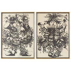 Pair of Bjorn Wiinblad Lithographs of Musical Players