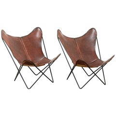 Pair of Bkf Butterfly Lounge Leather Chairs, circa 1980