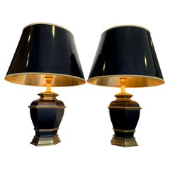 Pair of Black 1970s Lacquer and Brass Lamps with Orignal Black and Gold Shades