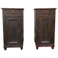 Pair of Black 19th Century Swedish Gustavian Nightstands