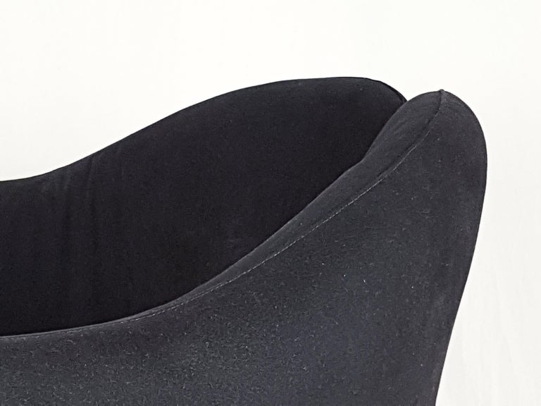 Painted Pair of Black Alcantara PS142 armchairs by Eugenio Gerli For Tecno, 1970 For Sale