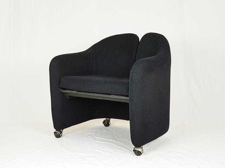 Fabric Pair of Black Alcantara PS142 armchairs by Eugenio Gerli For Tecno, 1970 For Sale