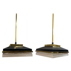 Pair of Black and Brass Square Pendant Lights, France, Midcentury