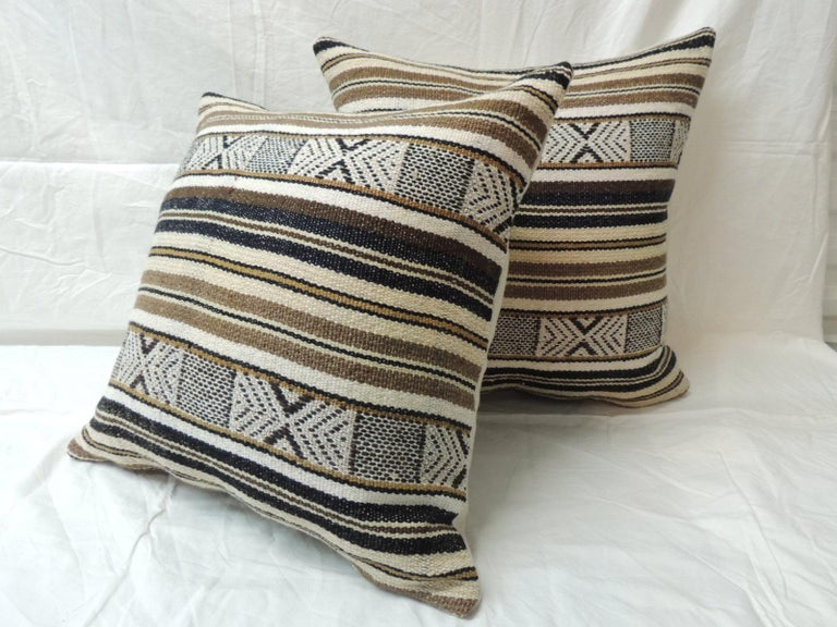 Tribal Pair of Black and Brown Woven Square Decorative Pillows For Sale