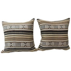 Pair of Black and Brown Woven Square Decorative Pillows