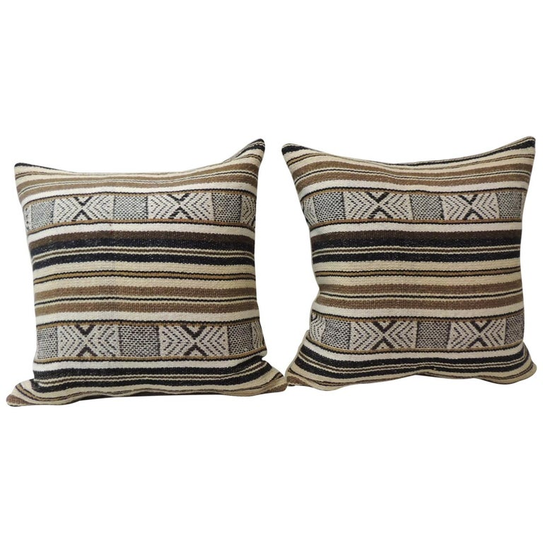 Pair of Black and Brown Woven Square Decorative Pillows For Sale