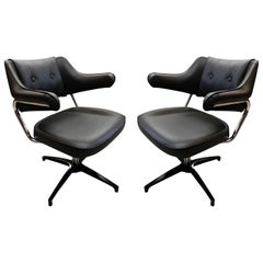 Pair of Black and Chrome Swivel Task Armchairs
