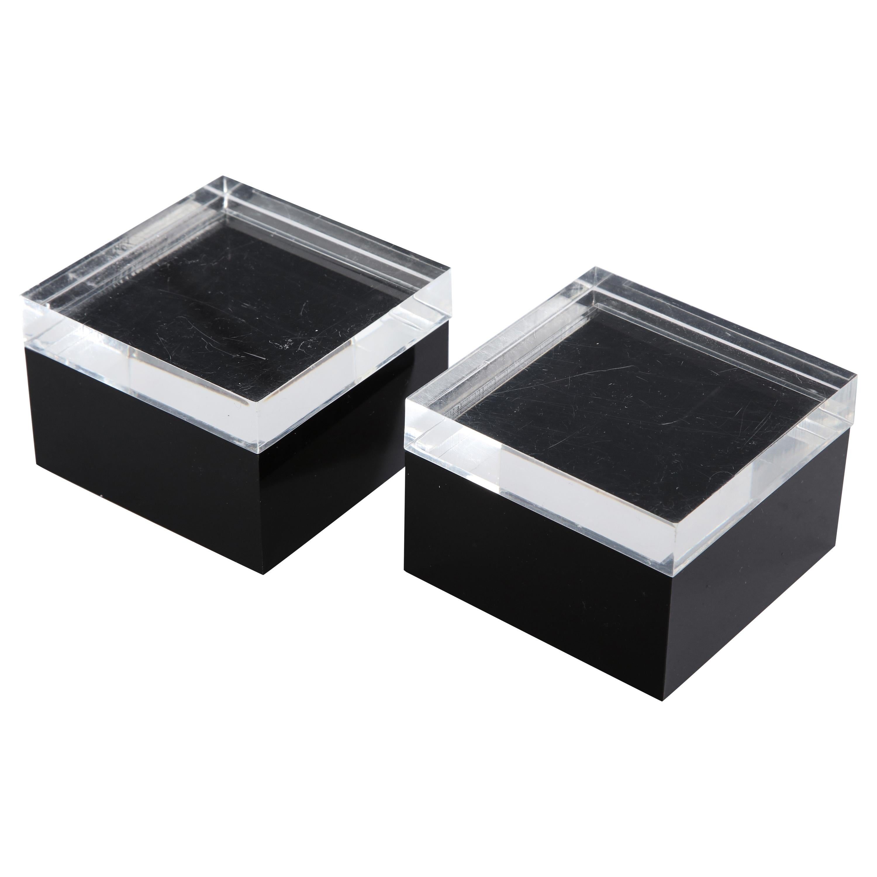 Pair of Black and Clear Lucite Decorative Boxes