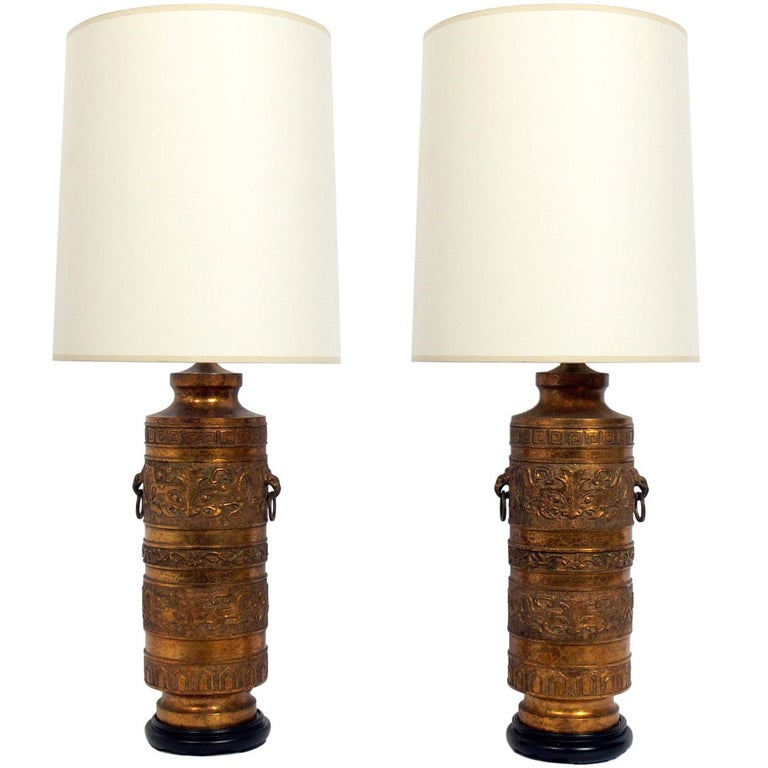 Pair of Black and Gold Asian Lamps  For Sale
