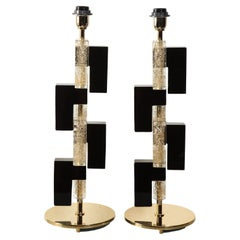 Pair of Black and Gold Infused Table Lamps
