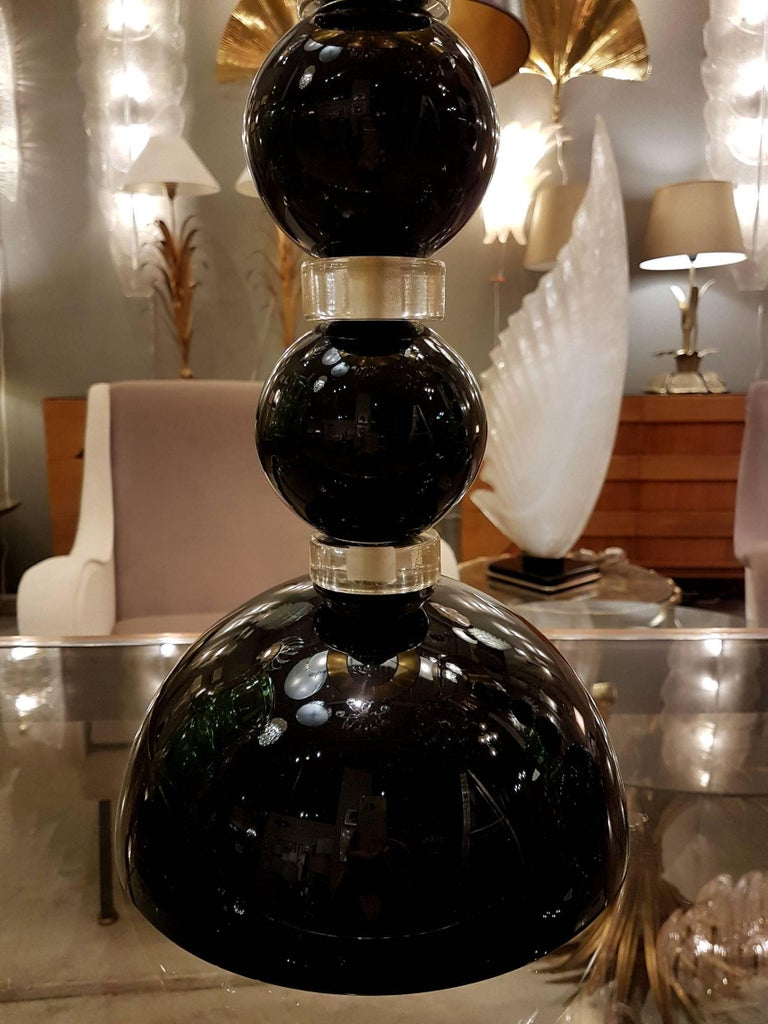 Pair of Black and Gold Murano Glass Lamps, Signed A. Dona For Sale 4