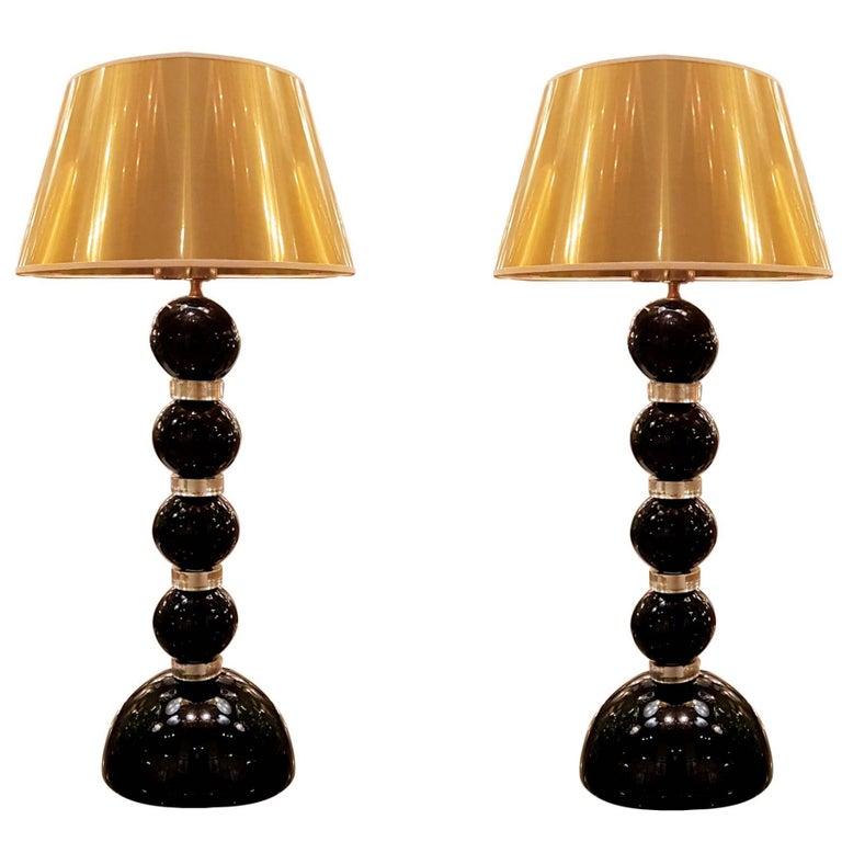 Pair of Black and Gold Murano Glass Lamps, Signed A. Dona For Sale
