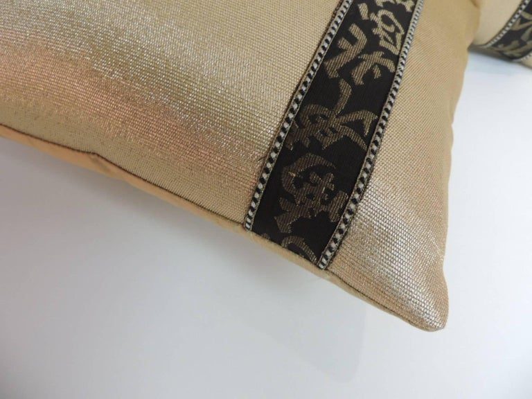 Japonisme Pair of Black and Gold Obi Silk Lumbar Vintage Decorative Pillows For Sale