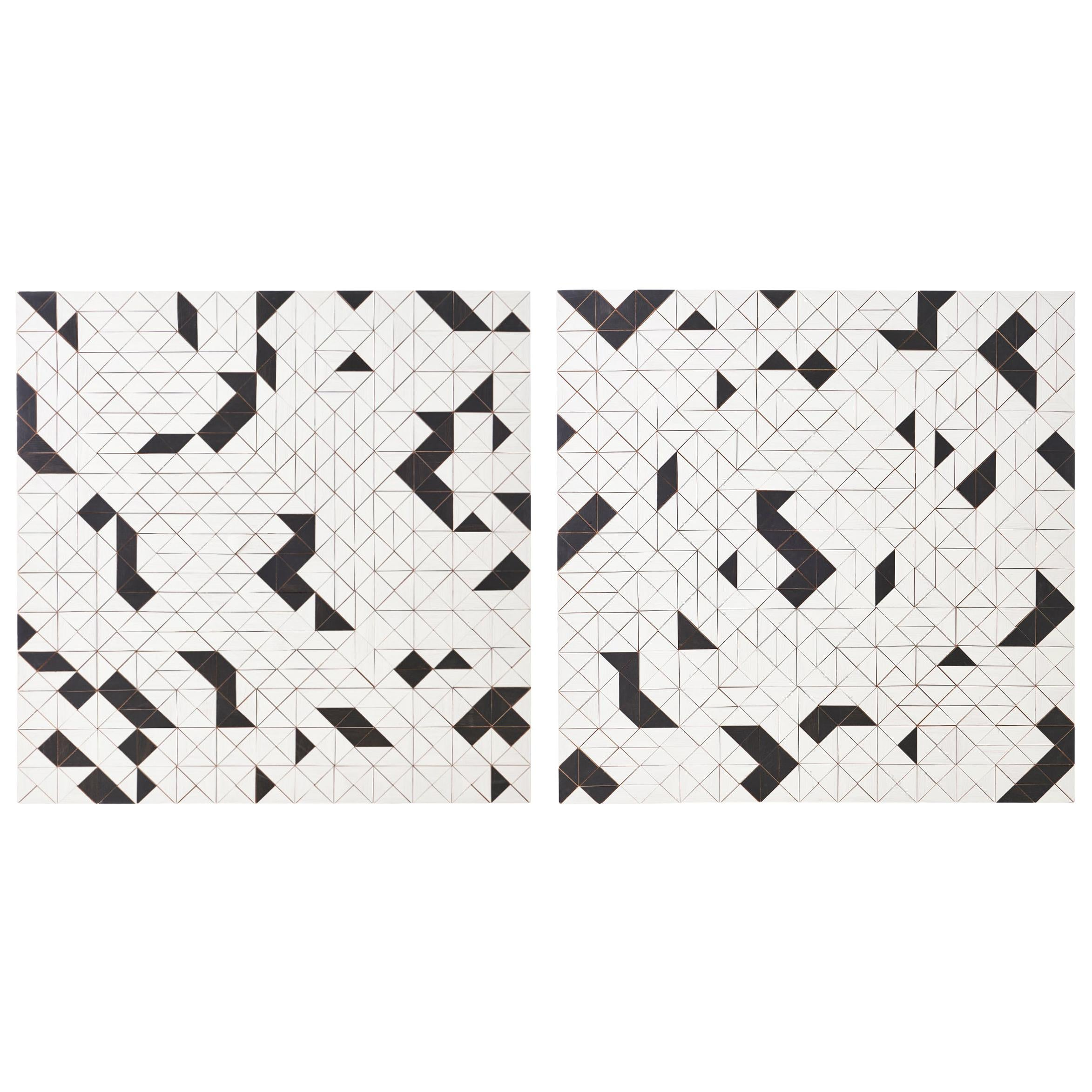 Pair of Black and White Abstract Wood Panels by Michelle Peterson Albandoz