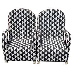 Pair of Black and White Diamond African Beaded Ceremonial Chairs