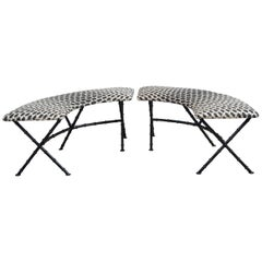 Pair of Black and White French Demilune Iron Benches Recovered in Fortuny Fabric