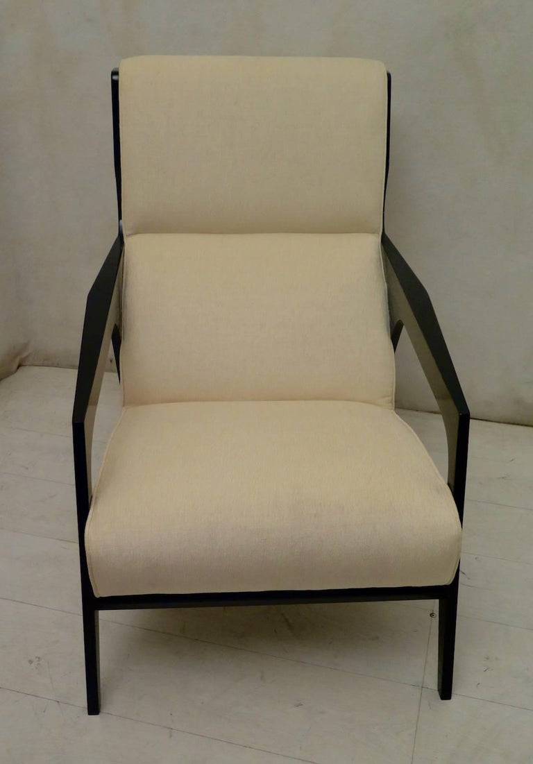 Mid-20th Century Pair of Black and White Midcentury Armchairs For Sale