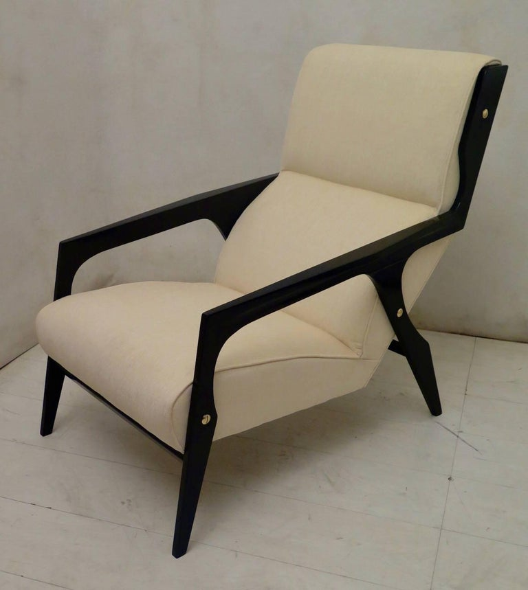 Pair of Black and White Midcentury Armchairs For Sale 1