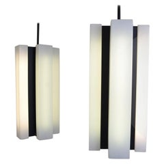 Pair of Black and White Modernist Pendant Lights, Italy, 1970