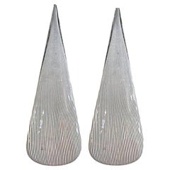 Pair of Black and White Murano Glass Lamps by Vetri
