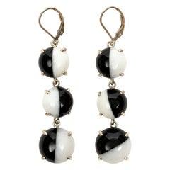 "Pair of Black and White Onyx Split Cabochon Disc Earrings Titled ""Black n' White"