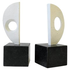 Black and White Plaster Abstract Sculptures or Bookends on Marble Bases