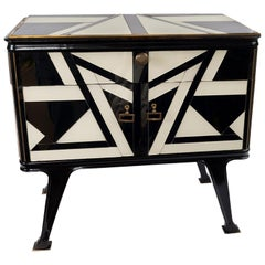 Pair of Black and White Side Tables with a Top Drawer