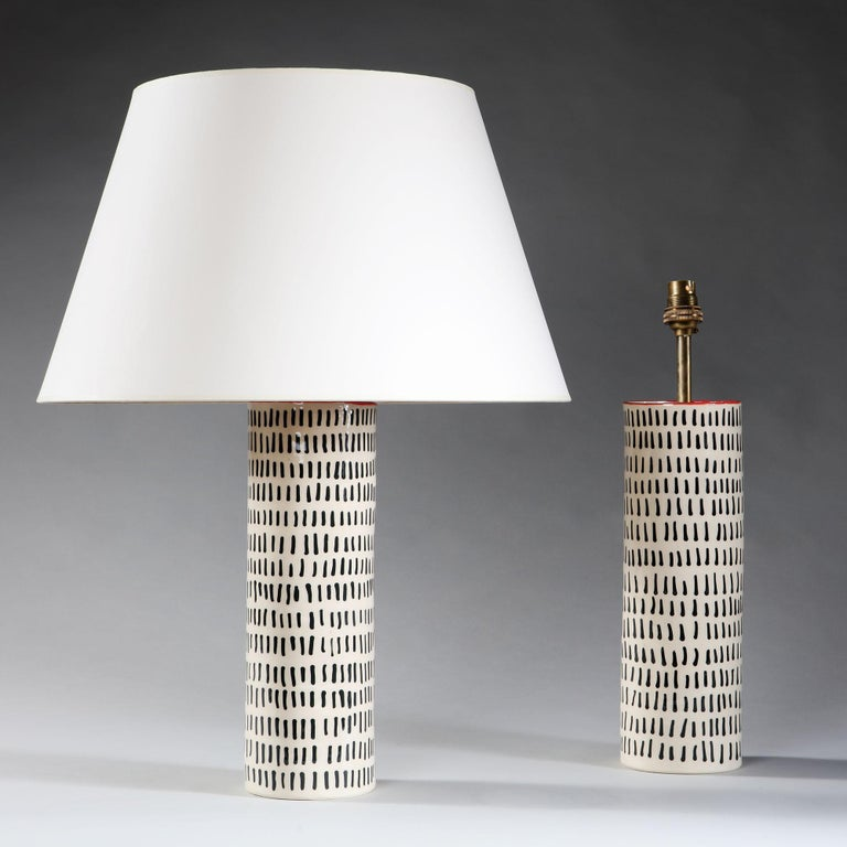 Glazed Pair of Black and White Studio Pottery Vases For Sale