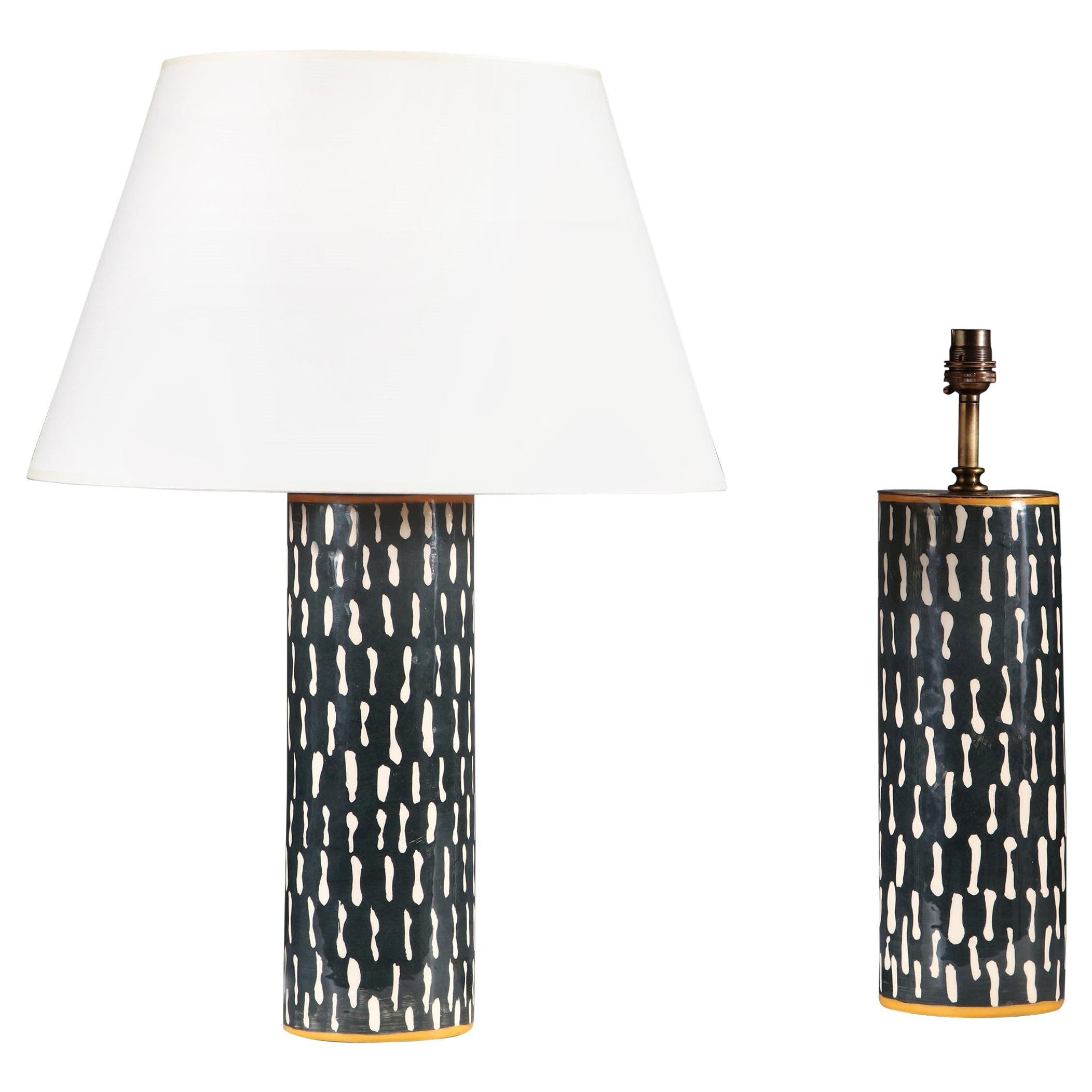 Pair of Black and White Studio Pottery Vases