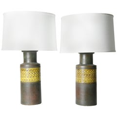 Pair of Black and Yellow Bitossi Lamps, Italy 1970