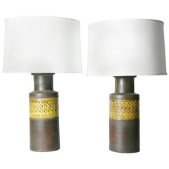 Pair of Black and Yellow Bitossi Lamps, Italy, 1970
