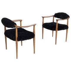 Pair of Black Armchairs by Hans Wegner Mod JH-501 in Teak, 1950s