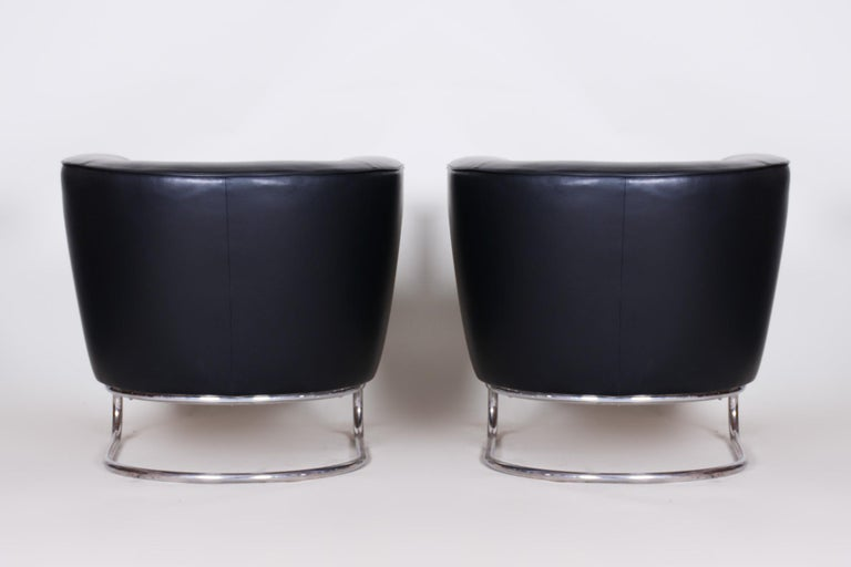 Pair of Black Art Deco Armchairs from Czechoslovakia by Jindrich Halabala, 1930s For Sale 7