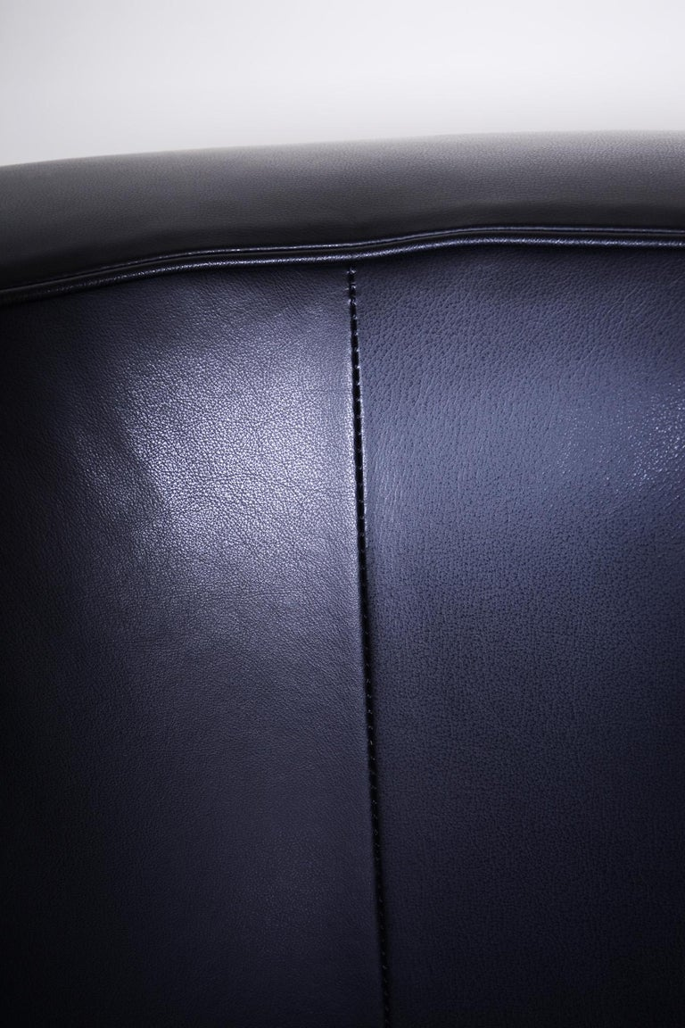 Leather Pair of Black Art Deco Armchairs from Czechoslovakia by Jindrich Halabala, 1930s For Sale
