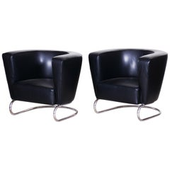 Pair of Black Art Deco Armchairs from Czechoslovakia by Jindrich Halabala, 1930s