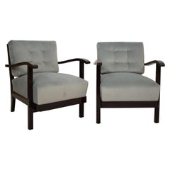 Pair of Black Art Deco Armchairs Upholstered in Grey Turquoise Velvet, 1930s