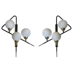 Pair of Black Asymmetrical Sconces w/White Opaline Glass Boules