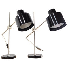 Pair of Black Bakelite Industrial Table Lamps from Czechoslovakia, 1970s