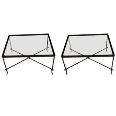 Pair of Black Bamboo Design Side or Coffee Tables, France, 1960s