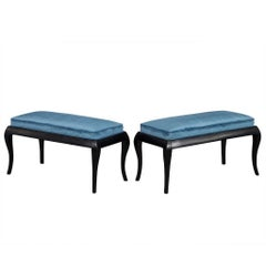 Pair of Black Benches with Blue Velvet