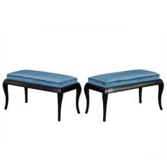 Pair of Black Benches with Blue Velvet
