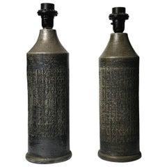 Pair of Black Bitossi Lamps