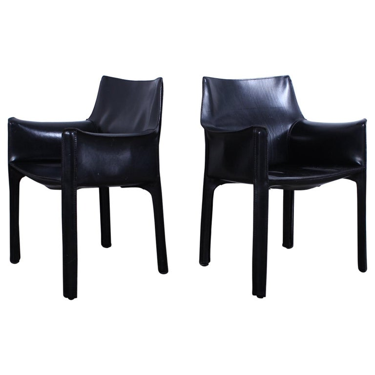 Pair of Black Cab Armchairs by Mario Bellini for Cassina For Sale