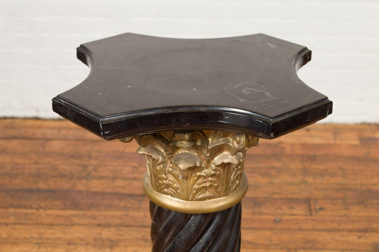 Pair of Black Carrara Marble Twisted Pedestals with Bronze Corinthian Capitals For Sale 5