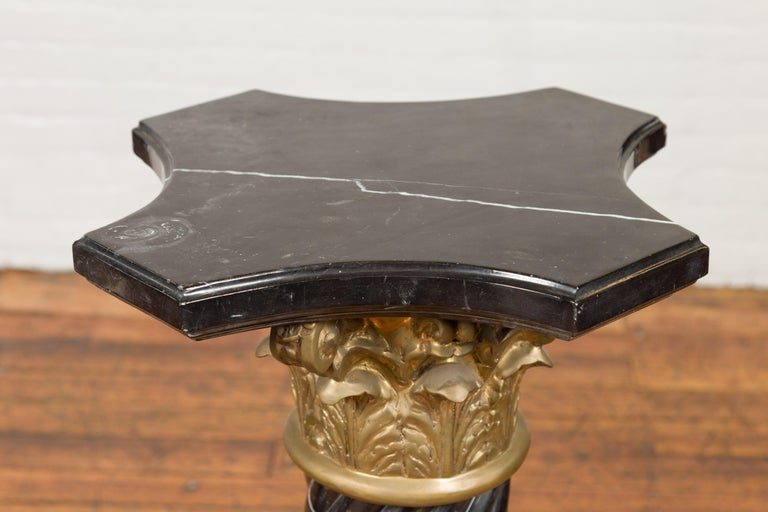 Pair of Black Carrara Marble Twisted Pedestals with Bronze Corinthian Capitals For Sale 6
