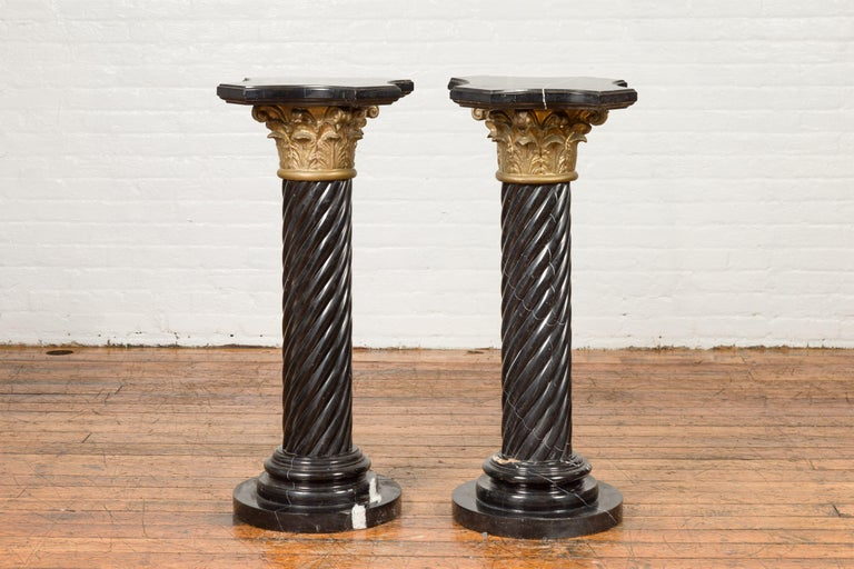 Pair of Black Carrara Marble Twisted Pedestals with Bronze Corinthian Capitals For Sale 8