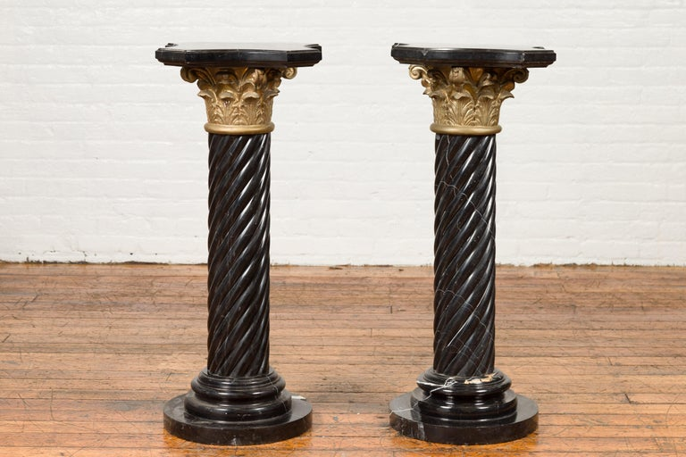 Pair of Black Carrara Marble Twisted Pedestals with Bronze Corinthian Capitals For Sale 9