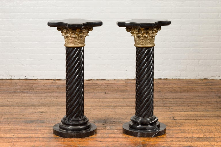 Pair of Black Carrara Marble Twisted Pedestals with Bronze Corinthian Capitals For Sale 10