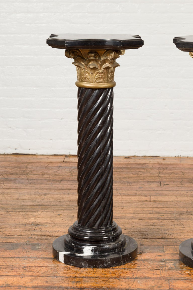 Pair of Black Carrara Marble Twisted Pedestals with Bronze Corinthian Capitals In Good Condition For Sale In Yonkers, NY